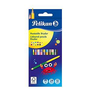 Pastelky Pelikan Bicolor obojstrané, 12 kusov, 24 farieb