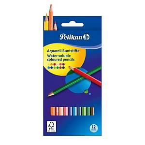 Akvarelové pastelky Pelikan, vodou rozpustneé, 12 farieb