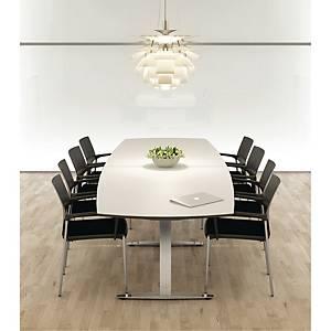 Konferencebord Square, 110/90 x 200 cm, hvid/aluminium