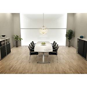 Konferensbord Fumac Square, 110/90 x 320cm, vitt/aluminium