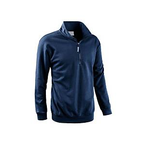 Felpa collo alto con mezza zip blu navy tg XL