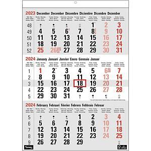 Calendrier Lyreco avec 3 mois par page, six langues, 30 x 43 cm