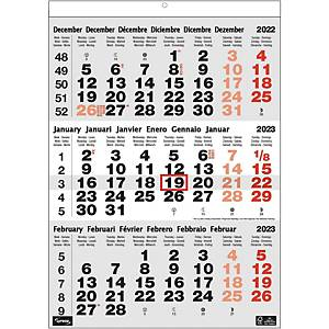 Lyreco kalender met 3 maanden per blad, zestalig, 30 x 43 cm