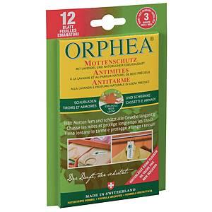 Protection anti-mites, Orphea, avec parfum boisé, emballage de 12 bandes