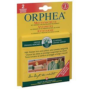 Protection anti-mites, Orphea, avec parfum de fleurs, emballage de 2 crochets