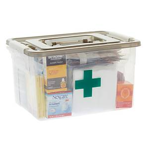 FIRST AID KIT BOX WITH 14 ESSENTIAL ITEMS