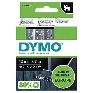 Dymo D1 Labels, 12mm X 7M Roll, White Print On Clear