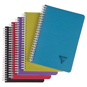 Cahier notes Clairefontaine Linicolor Intens A5, 5mm, carr.,rel.spi., 90feui.