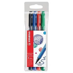 Stabilo Point Max Liner mit Nylon-Spitze, Packung mit 4 Farben