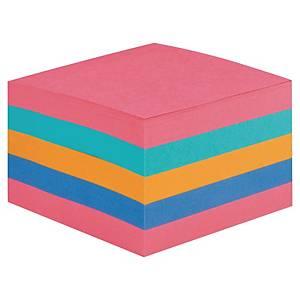 Kubusblok Post-it, Super Sticky, 76 x 76 mm, assorterede farver