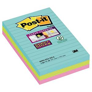 Post-it® Super Sticky Notes 4690SSMIA, gelijnd Miami kleuren, 102x152 mm, per 3