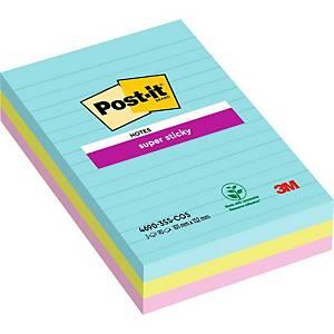 Notes Post-it® Super Sticky 4690SSMI 102x152mm lignées couleurs Miami, pack de 3