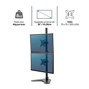 Bras support écran Fellowes Professionnal Series vertical - sur pied - 2 écrans