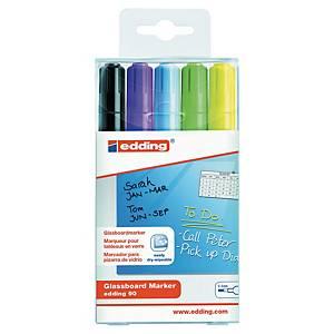 Edding 90 Glassboard Marker For Light Board Assorted Wallet of 5