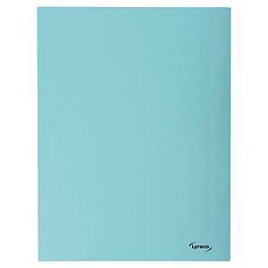 Lyreco 3-flap folders A4 cardboard 280g blue - pack of 50
