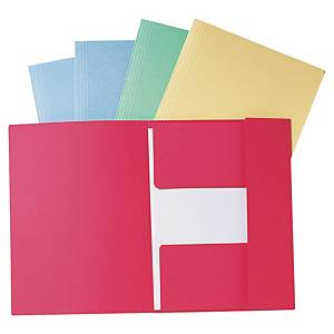 Lyreco 3-flap folders A4 cardboard 280g red - pack of 50