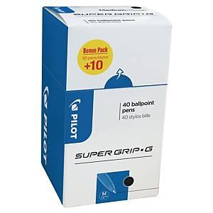 Pilot Super Grip ballpoint pen capped medium black - value pack 30+10