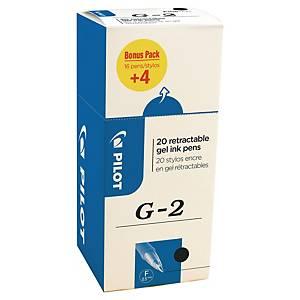 Pilot G2 intrekbare gel roller pen, fijn, zwarte gel-inkt, 16 stuks + 4 gratis