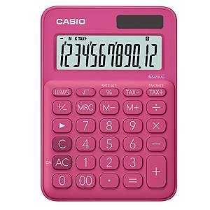 CASIO เครื่องคิดเลขชนิดตั้งโต๊ะ MS-20UC 12 หลัก สีแดงชมพู