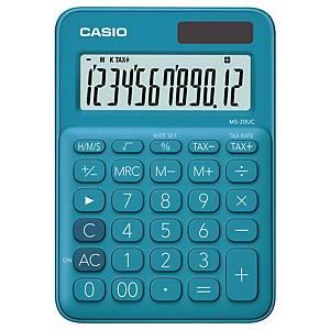 CASIO เครื่องคิดเลขชนิดตั้งโต๊ะ MS-20UC 12 หลัก สีฟ้าเข้ม