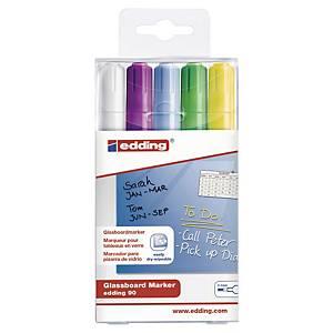 Edding 90 Glassboard Marker For Dark Board Assorted Wallet of 5