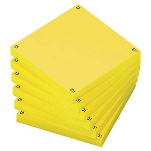 Notes repositionnables Oxford Spot Notes 75 x 75 mm - jaunes - 6 x 80 feuilles