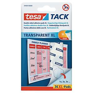 Tesa TACK® double-sided adhesive pads XL transparant - pack of 36