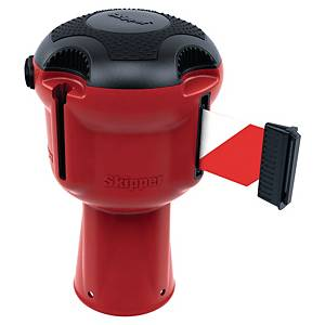 Enrouleur pour balisage de sécurité, sangle de 9 m, couleur rouge/blanc