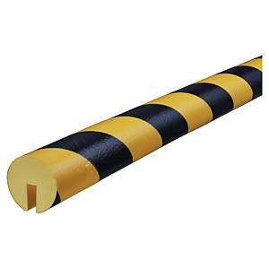 Protector bordes tipo E Knuffi - 1 m x 40 mm x 19 mm - negro/amarillo
