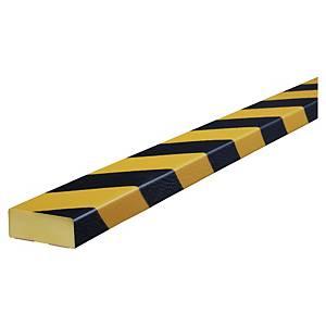 Knuffi muurprofiel, type D, 1 meter, zwart/geel, per stuk