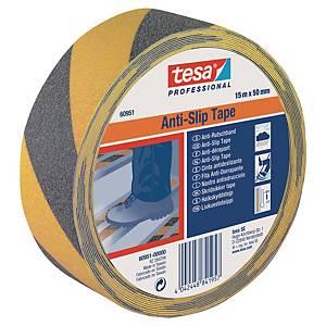 Fita antiderrapante Tesa 60951 - 15 m x 50 mm - preto/amarelo