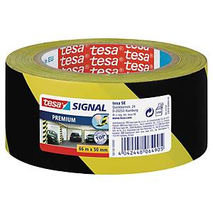 Advarselstape Tesa Premium, 50 mm x 66 m, gul/sort