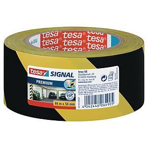 Premium Tesa 58130 Signal/Warning Tape, PVC, 50mm x 66m, yellow/black
