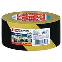 Varningstejp Tesa Premium, 50 mm x 66 m, gul/svart