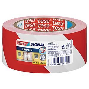 Advarselstape Tesa Premium, 50 mm x 66 m, rød/hvid