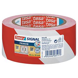 Premium Tesa 58130 Signal/Warning Tape, PVC, 50 mm x 66 m, red/white