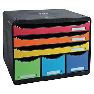 Skuffekabinett Exacompta Storebox Maxi, 6 skuffer, harlekin