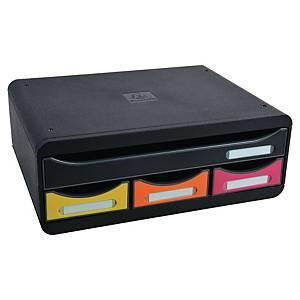 Iderama Toolbox Maxi, 270X355X135mm, 3 Closed Drawers - Black/Harlequin