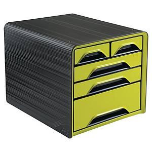 Cassettiera da scrivania 5 cassetti Smoove by Cep Classic Gloss nero / verde