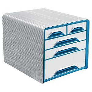 Module de rangement Cep Smoove Classic, 5 tiroirs différents, blanc et bleu