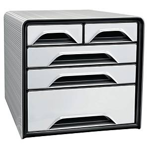 Cep Classic 5-Drawers Mixed Sizes Unit White/Black