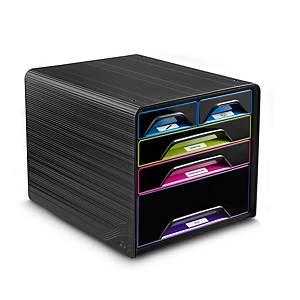 Sistema a cassetti Cep Smoove, 5 cassetti, nero/multicolor