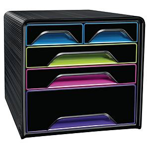 Cep Gloss 5-drawers unit mixed sizes - multicolour