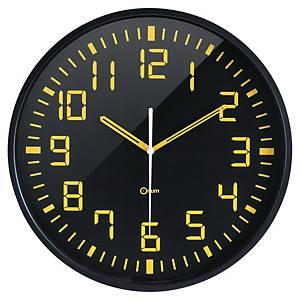Orologio da parete Orium by Cep Silent Ø 30 cm nero/giallo