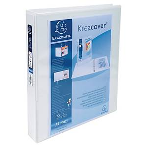 Exacompta Kreacover PP A4 Maxi Presentation Ring Binder 4 D Rings, 47mm , White