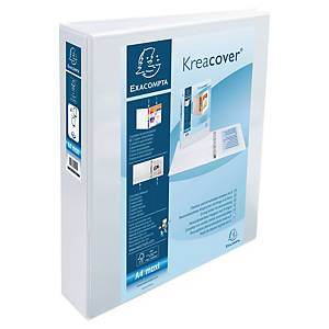 Exacompta Kreacover PP A4 Maxi Presentation Ring Binder 4 D Rings, 64mm , White
