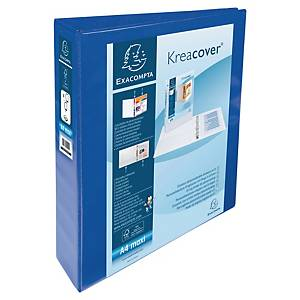 Exacompta Kreacover PP A4 Maxi Presentation Ring Binder 4 D Rings, 64mm , Blue