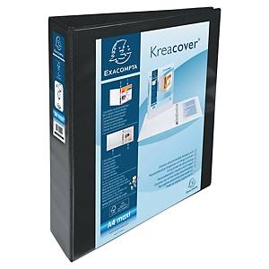 Exacompta Kreacover PP A4 Maxi Presentation Ring Binder 4 D Rings, 64mm , Black