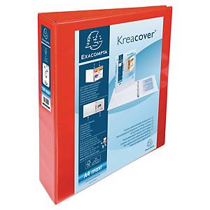 Exacompta Kreacover PP A4 Maxi Presentation Ring Binder 4 D Rings, 64mm , Red