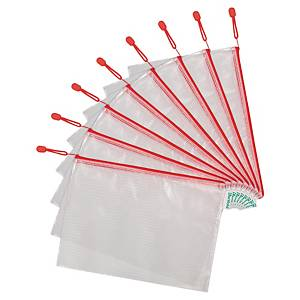 Tarifold reinforced zipper bags A4 red - pack of 8